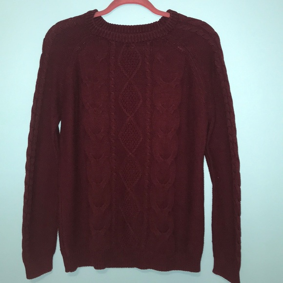 Forever 21 Sweaters Maroon Cable Knit Sweater Poshmark